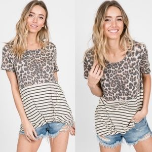 Leopard Print Stripes twist front Short Sleeve Top